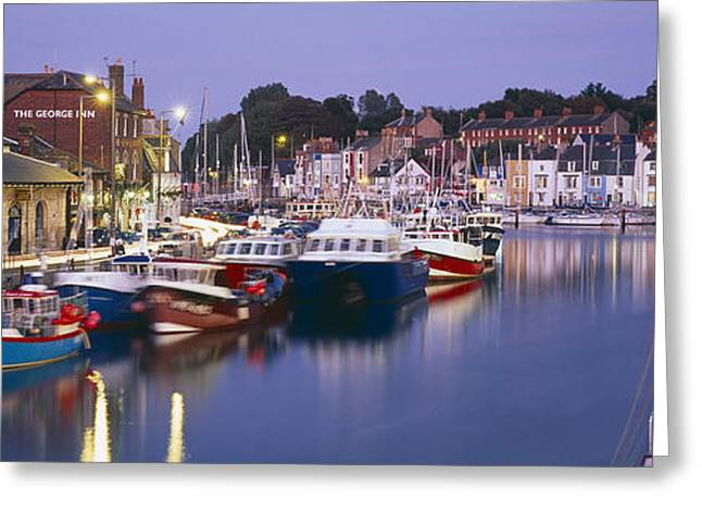 Fishing Boats Greeting Cards - Fishing Boats At A Harbor, Weymouth Greeting Card by Panoramic Images