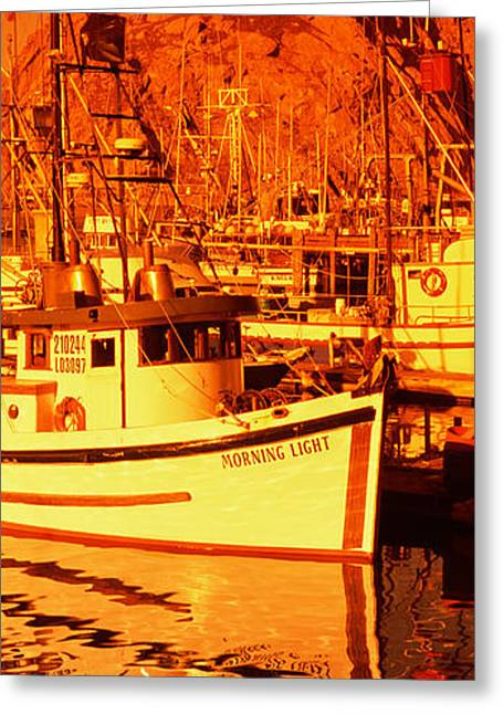 San Luis Obispo Greeting Cards - Fishing Boats In The Bay, Morro Bay Greeting Card by Panoramic Images