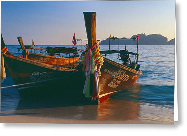 Phi Greeting Cards - Fishing Boats In The Sea, Phi Phi Greeting Card by Panoramic Images