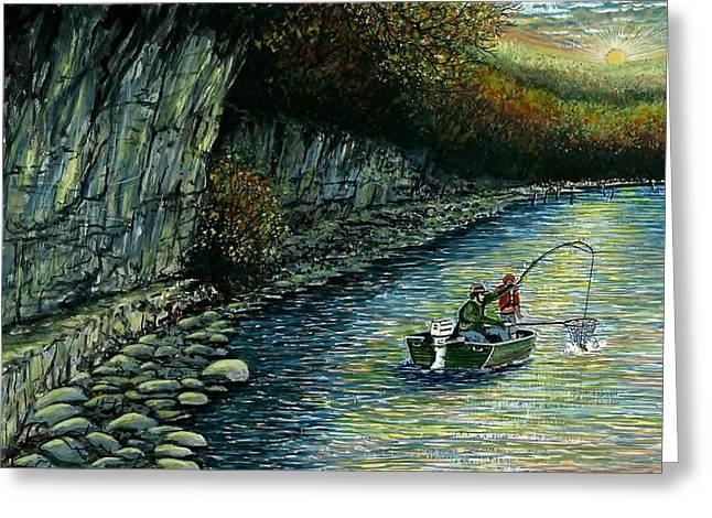 Award Winning Art Greeting Cards - Fishing Buddies Greeting Card by Steven Schultz