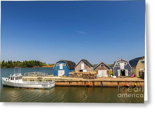 Docked Boat Greeting Cards - Fishing dock in Prince Edward Island  Greeting Card by Elena Elisseeva