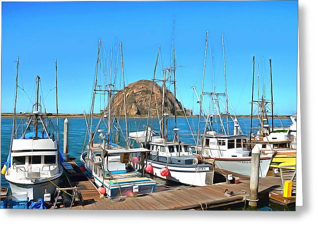 California Ocean Photography Paintings Greeting Cards - Fishing Fleet In Front of Morro Rock Digital Painting Greeting Card by Barbara Snyder