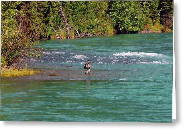Fishing In The Kenai River, Kenai Greeting Card by Michel Hersen