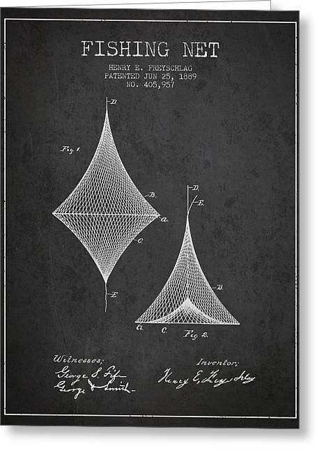 Tackle Greeting Cards - Fishing Net Patent from 1889- Charcoal Greeting Card by Aged Pixel