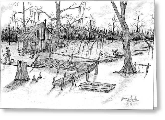 Cajun Drawings Greeting Cards - Fishing on the bayou Greeting Card by Jimmy Taylor