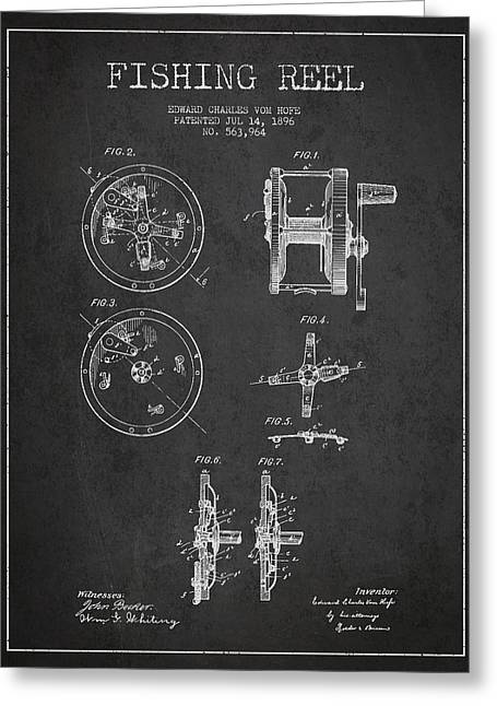Fly Fishing Digital Art Greeting Cards - Fishing Reel Patent from 1896 Greeting Card by Aged Pixel