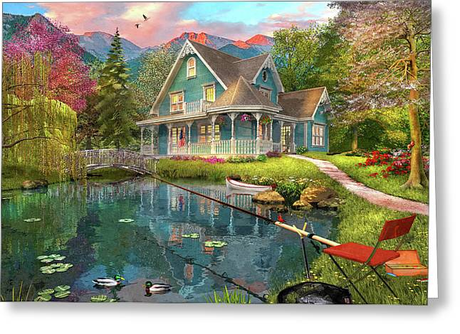 Fishing Retreat Greeting Card by Dominic Davison