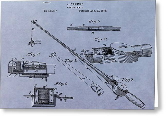 Fishing Bait Shop Greeting Cards - Fishing Tackle Patent Greeting Card by Dan Sproul
