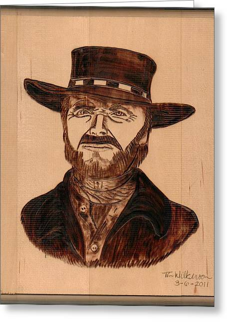 Signature Pyrography Greeting Cards - Fist Full Of Dollars Greeting Card by Timothy Wilkerson