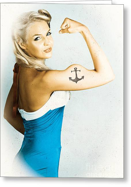 Personal Trainer Greeting Cards - Fit Pin-Up Girl With Big Muscles And Anchor Tattoo Greeting Card by Ryan Jorgensen