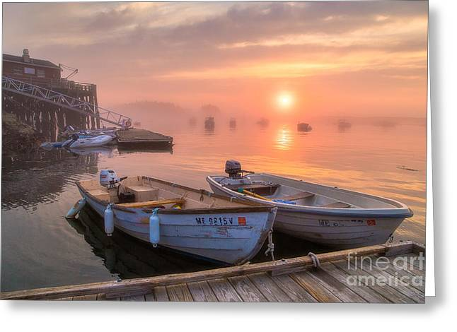 Ocean Art Photos Greeting Cards - Two Boats at Five Islands Greeting Card by Benjamin Williamson