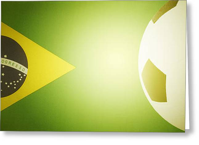 Brasil Greeting Cards - Flag and ball Greeting Card by Les Cunliffe