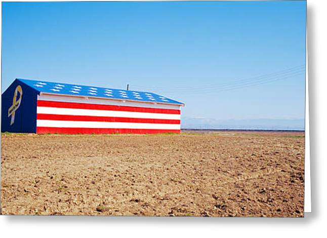U.s. Destination Greeting Cards - Flag Barn Along Highway 41, Fresno Greeting Card by Panoramic Images