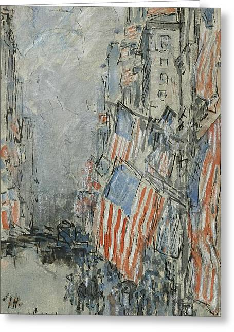 July 4th Paintings Greeting Cards - Flag Day. Fifth Avenue. July 4th 1916 Greeting Card by Celestial Images