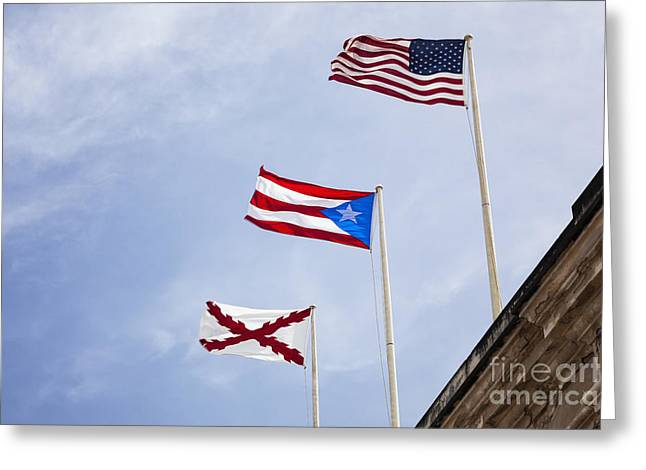 Puerto Rican Culture Greeting Cards - Flags At Fort San Cristobal Greeting Card by Bryan Mullennix