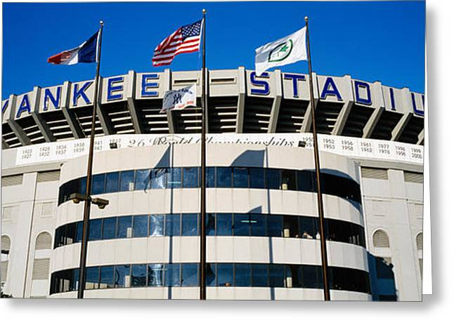 American Flag Photography Greeting Cards - Flags In Front Of A Stadium, Yankee Greeting Card by Panoramic Images