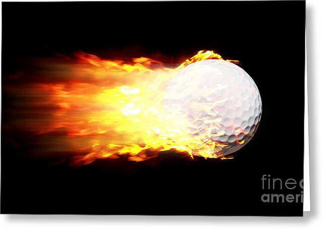 Firestorm Greeting Cards - Flame Golf Ball Greeting Card by Ryan Jorgensen