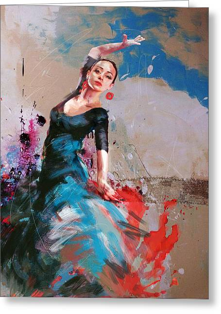 Expressionist Girl Greeting Cards - Flamenco 41 Greeting Card by Maryam Mughal