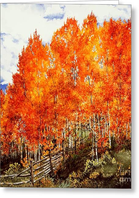 Aspens In Fall Greeting Cards - Flaming Aspens 2 Greeting Card by Barbara Jewell