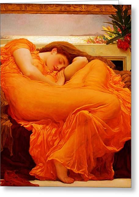Frederick Greeting Cards - Flaming June Greeting Card by Celestial Images