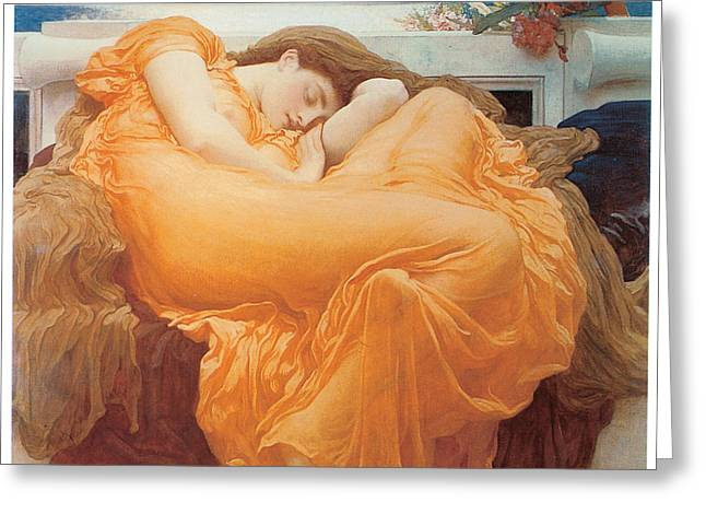 Woman In A Dress Greeting Cards - Flaming June Greeting Card by Lord Frederick Leighton