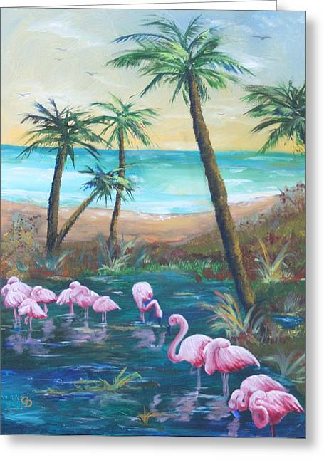 Gail Daley Greeting Cards - Flamingo Beach Greeting Card by Gail Daley