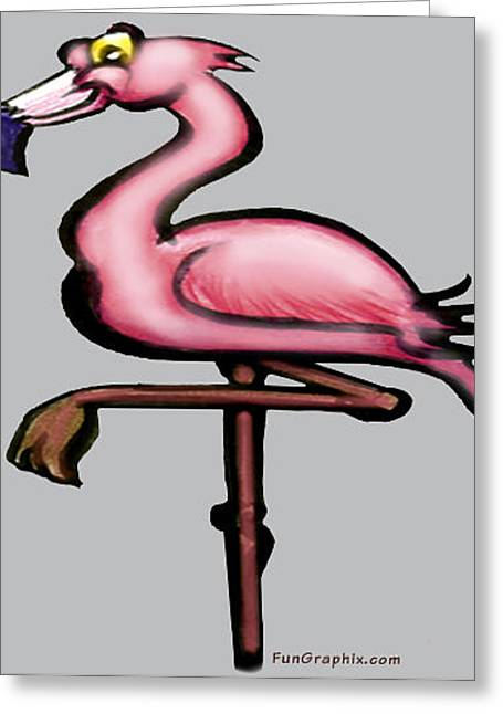 Summertime Greeting Cards - Flamingo Greeting Card by Kevin Middleton