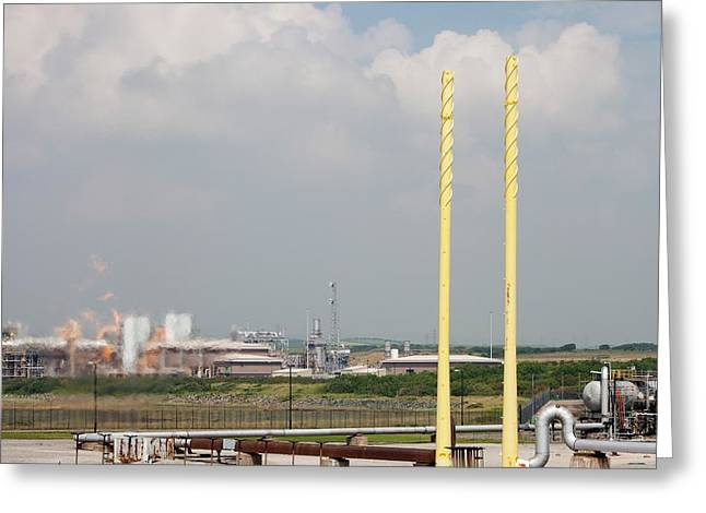 Flaring Off Gas At A Gas Processing Plant Greeting Card by Ashley Cooper
