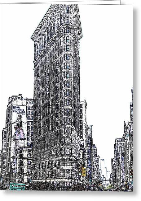 Flat Iron Building Greeting Cards - Flat Iron Building Greeting Card by Frank Garciarubio