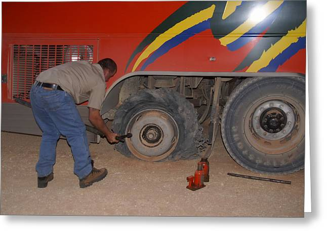 Hightway Greeting Cards - Flat Tire on the Plenty Highway Greeting Card by Carol Ailles