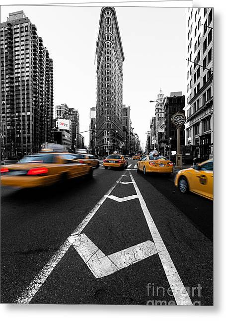 Black And White Print Greeting Cards - Flatiron Building NYC Greeting Card by John Farnan