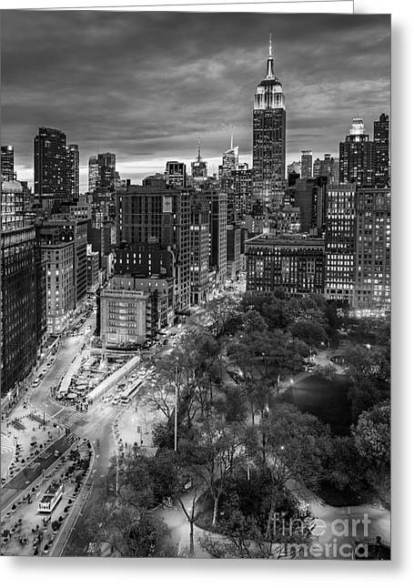 Flatiron District Birds Eye View Greeting Card by Susan Candelario