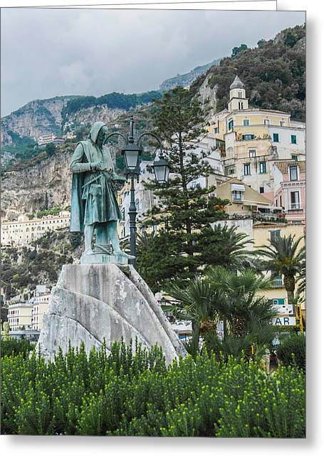 Gioia Greeting Cards - Flavio Gioia Statue in Amalfi Italy Greeting Card by Alan Toepfer