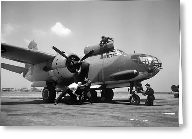 Aircrew Greeting Cards - Flight Crew Prepping a Douglas A-20C-BO Havoc 1942 Greeting Card by Mountain Dreams