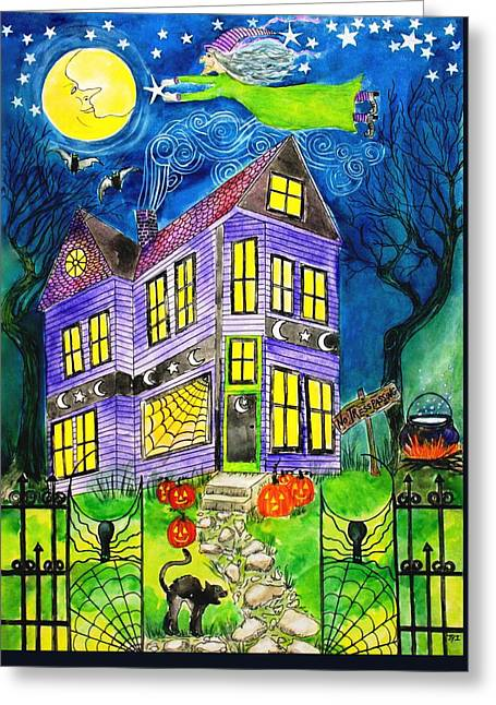 Witch Halloween Cat Wicca Greeting Cards - Flight of the Moon Witch on Hallows Eve Greeting Card by Janet Immordino