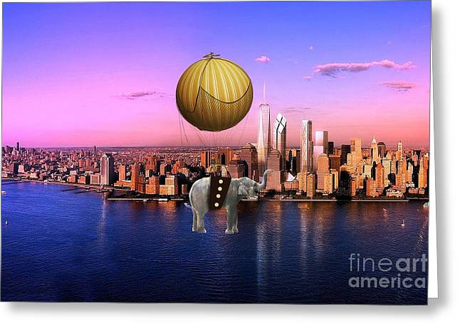African Greeting Cards - Flight Over The New York Skyline On A Hot Air Balloon Greeting Card by Marvin Blaine
