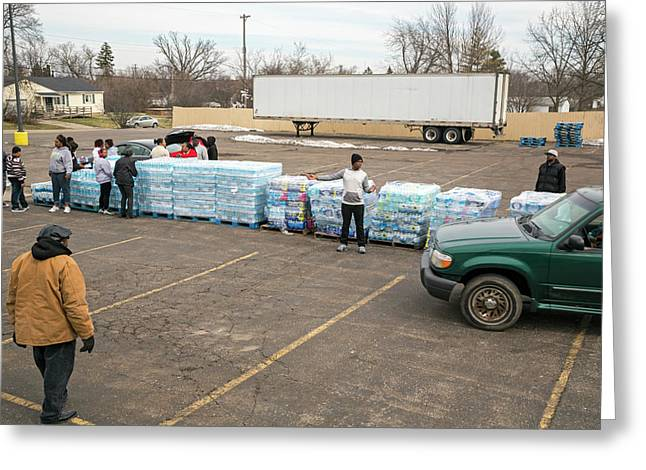 Flint Bottled Drinking Water Distribution Greeting Card by Jim West