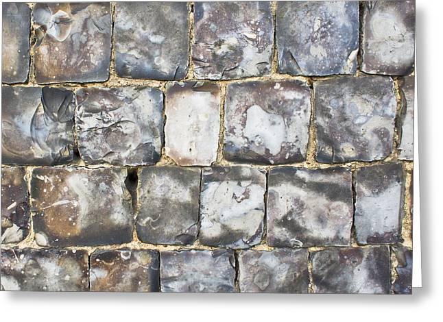 Irregular Greeting Cards - Flint stone wall Greeting Card by Tom Gowanlock