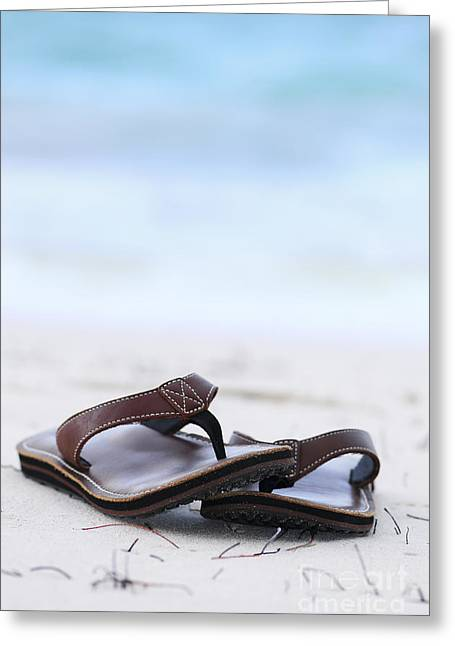 Lifestyle Greeting Cards - Flip-flops on beach Greeting Card by Elena Elisseeva