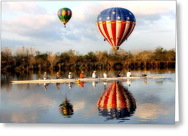 Floating And Rowing Greeting Card by James Stough