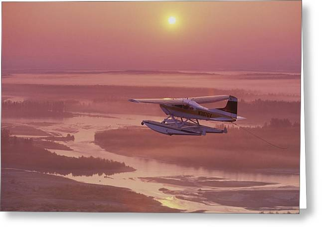Satisfaction Greeting Cards - Floatplane Flying  Sunset Matanuska Greeting Card by Jeff Schultz