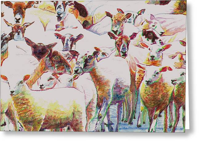 Lambing Greeting Cards - Flock Greeting Card by Helen White