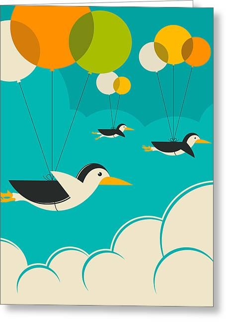 Art For Children Greeting Cards - Flock Of Penguins Greeting Card by Jazzberry Blue