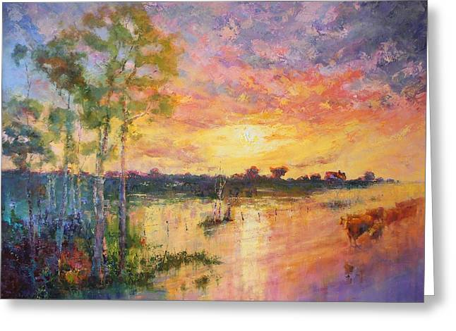 Flooded Sunset Greeting Card by Marie Green