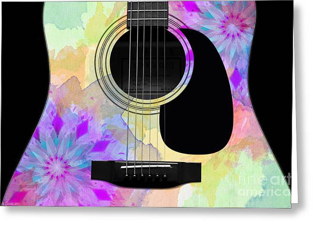 Hourglass Design Greeting Cards - Floral Abstract Guitar 16 Greeting Card by Andee Design