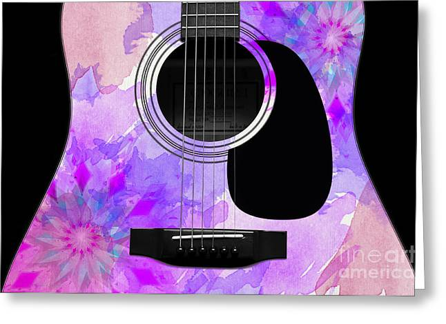 Hourglass Design Greeting Cards - Floral Abstract Guitar 17 Greeting Card by Andee Design