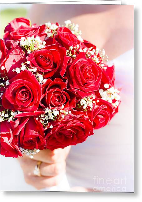 Wedding Photo Greeting Cards - Floral Rose Boquet Held By Bride Greeting Card by Ryan Jorgensen