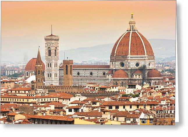 Florence Cathedral At Sunset Greeting Card by JR Photography