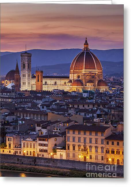 Best Sellers -  - Tuscan Sunset Greeting Cards - Florence Duomo Greeting Card by Brian Jannsen