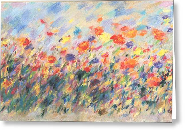 Expressionist Pastels Greeting Cards - Flores del Campo Greeting Card by Tolere